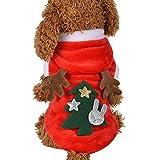 F FINEC Vestiti per Cani Natale Costume da Babbo Natale Renna Felpa Invernale con Cappuccio Cappotto Rosso per Cani Giacca Invernale Costume Natale Cane (M)