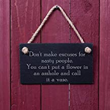 VinMea Funny Sign: Don't Make Excuses for Nasty People. You Can't Put A Flower in an Asshole and Call It A Vase Home Decor Accessory Gift Plaque Wooden Sign