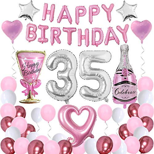 Happy 35th Birthday Party Decorations Set for Women Girl, Pink Happy Birthday Banner 35 Foil Number Balloons for Sweet 35 Decor