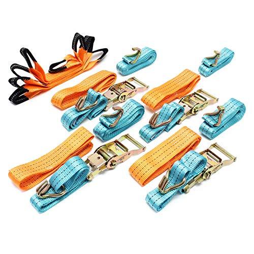Spanngurte 4er Set für den Autotransport, 50mm x 3m, 3000 daN, Zurrgurte zur Radsicherung