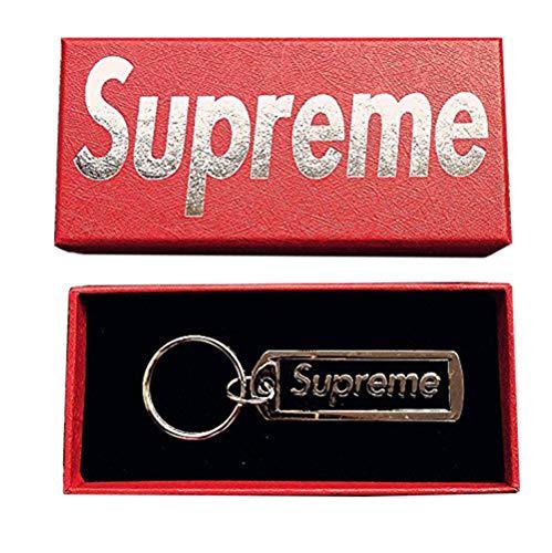 Llavero Supremo Llavero Sup Colgante Accesorios Joyería de la mochila Llavero Llavero Ventiladores Hypebeast (BLACK)