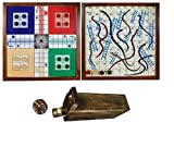The Mind Challenge Classic Handmade Wooden 2 in 1 Ludo Magnetic Snakes
