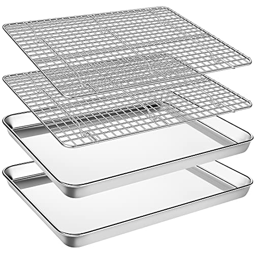 Baking Sheet with Cooling Rack Set, Footek Stainless Steel Cookie Sheet Baking Pan Tray with Wire Rack for Oven, Dishwasher Safe, Non Toxic, Heavy Duty & Easy Clean (4, 18inch)