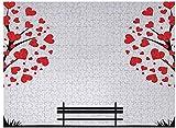 Puzzle da 1000 pezzi per adulti - Albero della vita Puzzle per bambini Alberi con foglie a forma di focolare e panchina Love Valentines Romance Design, Nero Rosso Bianco