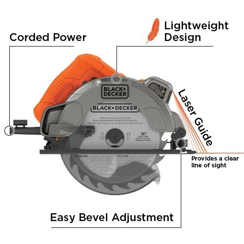 BLACK+DECKER 7-1/4-Inch Circular Saw with Laser, 13-Amp (BDECS300C) (Renewed)
