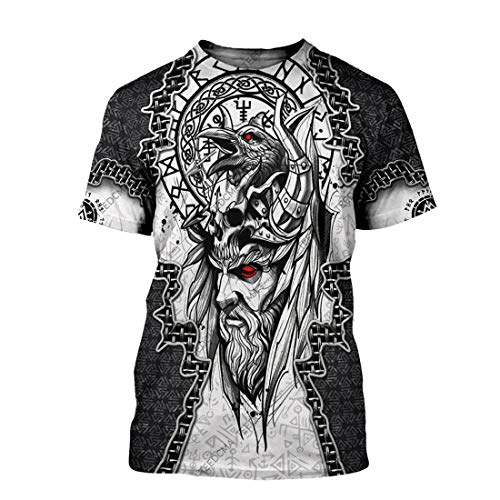 The Raven of Odin Viking God 3D All Over Printed Warrior Raven Nordic Tattoo Tshirt Viking Gifts for Men, Odin Shirt Full Size S-5XL