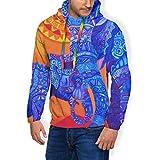 Psychedelic Indian Elephant Mandala - Sudadera unisex con capucha para hombre con capucha con estampado 3D con bolsillo Negro Negro ( L