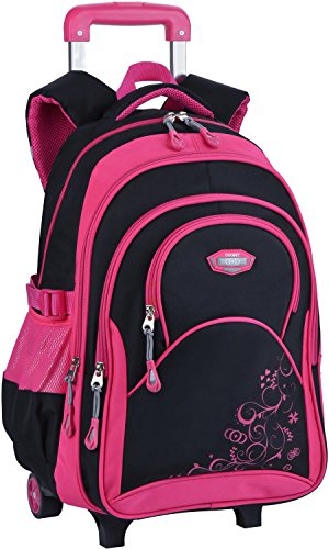 Rolling Backpack for Girls, COOFIT Kids Backpack Wheeled School Backpack Roller Backpack with Wheels