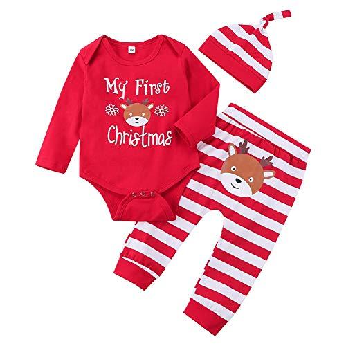 Ttkgyoe Mein erster Weihnachtsbaby-Mädchen-roter Strampler mit Streifenhose und Hut 3-teiliges Neugeborenen-Outfit-Set,Rot-6,12-18 Monate (Etikette 100)