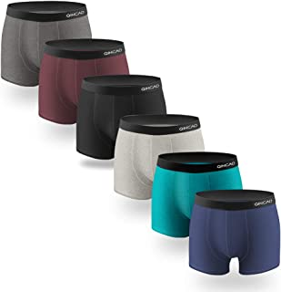 QINCAO Boxer Shorts Mens 6 Pack, Cotton Underwear Retro Trunks Fitted Boxer Breathable Briefs S, M, L, XL, XXL, XXXL