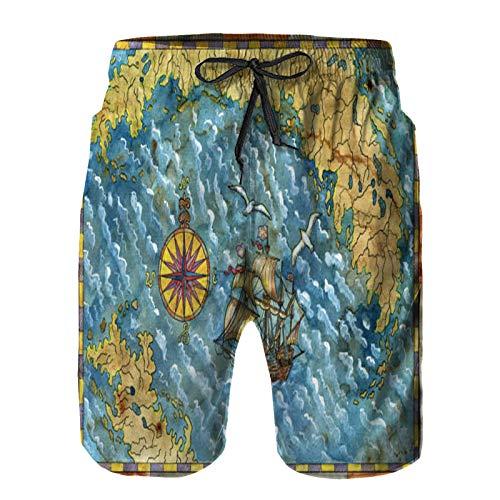 Uomo Asciugatura Pantaloncini Veloce Da Bagno, mappa dei tesori dei pirati con i gabbiani e le isole della bussola della vecchia coulisse Elastica Per Surf Spiaggia Allenamento Calzoncini 4XL
