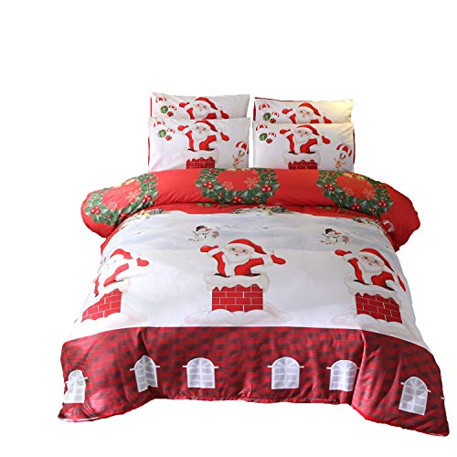 L.Z.HHZL Bedding Cover Set Christmas Duvet Cover Set Winter Season Snowman Xmas Tree Santa Sleigh Moon Present Boxes Snow and Stars (Color : 03, Size : 200 * 230)