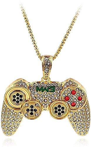 Collar Mujer Collar Collar Hip Hop Collar Máquina de juego Mango Forma Colgante Hombres Collares de cadena larga Controlador de moda Joyería de fiesta-Oro para mujeres Hombres Niños Niñas Regalo