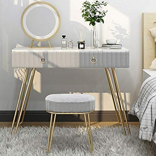 Kaptafel Modern, Nordic Iron make-up tafel, met spiegel en Gedempte Kruk, kaptafel met 2 laden, eenvoudig te monteren, voor Slaapkamer Garderobe,Gray,100 * 40 * 75cm