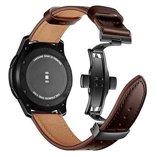 Myada Compatible per Cinturino Samsung Galaxy Watch 46m Pelle, Cinturino Samsung Gear S3 Frontier 22mm, Cinturino Samsung Gear S3 Classic in Vera Pelle Sport, Braccialetto Ricambio Polso Band Fascia