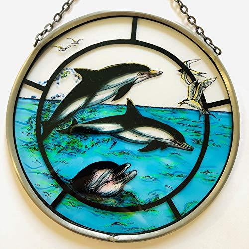 Décoratif peint à la main en forme de vitrail Attrape-soleil/Patch dans un joyeux dauphins.