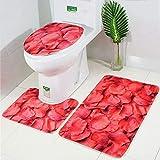 LAOSHIZI New Bath Mat Soft Non Slip Bathroom Rug Rose Petal 3 Piece Sets Including Bath Mat Pedestal Mat and Toilet Seat Cover Rose Pink