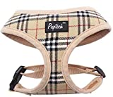 soft mesh padded no pull vest-harness for small dog in 6 plaid choices, by Pupteck