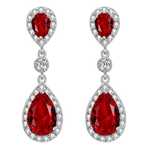 Clearine Mujer 925 de Plata Boda Nupcial Cúbica Zirconia Infinity Lágrima Halo Pierced Dangle Pendients Ruby Color