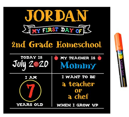 Chalk Stix First Day of School Chalkboard | 12 in X 12 in | Made in USA | For Boys or Girls | Includes Chalk Marker | Non Porous, Erasable, & Reusable | Best For Kids Photo Prop Sign