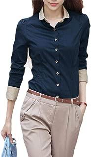 Macondoo Womens Casual Button Down Long Sleeve Slim Work Office Shirt