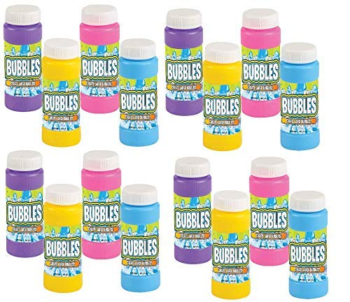 Neliblu Bulk Party Bubbles - 12 Pack 2 Oz Bubble Bottles with Wands - Summer Fun Toys, Party Favors,...