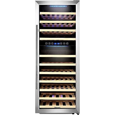 Kalamera KRC-73BSS Design Cave à vin réfrigérée 2 zones 73 bouteilles (jusqu'à 310 mm de hauteur) refroidisseur à vin avec compresseur, deux zones de température 5-10 ° C / 10-18 ° C,200 litres