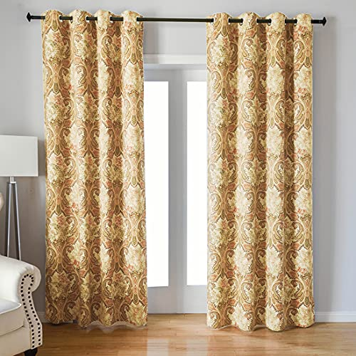 Kotile Print Blackout Curtains with Boho Paisley Pattern Design Print, Grommet Top 2 Panels Thermal Insulated Plant Leaves Fern Luxurious Soft Window Panels for Living Room (W52 X L84 Inches, Yellow)