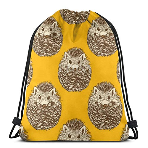 Perfect household goods Cute Hedgehog Drawstring Backpack Sport Bags Cinch Tote Bags For Traveling And Storage For Men And Women 17X14 Inch