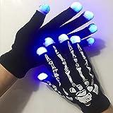 LED Skeleton Gloves Finger Lights, Fingertips Flashing Black Rave Gloves, Halloween Costume Party Favors Light Up Toys Novelty