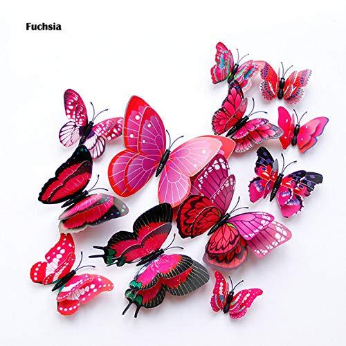 STEDMNY Adesivi murali Nuovo Stile 12Pz Adesivo murale Farfalla Doppio Strato 3D sul Muro Decorazioni per la casa Farfalle per Decorazione Adesivi per Frigorifero con Magnete, Fucsia