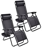 Goplus Zero Gravity Chairs, Lounge Patio, Folding Recliner, Outdoor Yard Beach with Cup Holder, Black, 2 Piece
