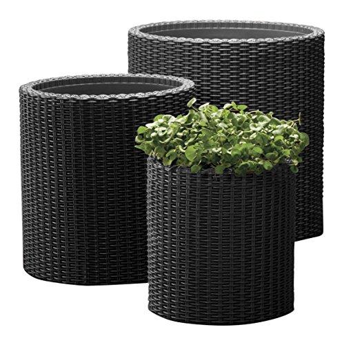 Keter Kunststoff Pflanztopf, Zylinderförmiges Pflanzgefäß aus Kunststoff, Grau, 3-teilig