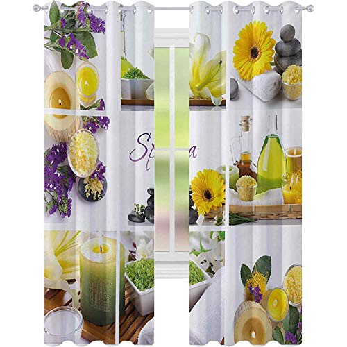 Room darkening window curtains, Yellow Happy Peaceful Spa Day with Flowers Candles and Herbal Oils Art, W52 x L72 Room Darkening Curtains for Living Room, Yellow Purple White