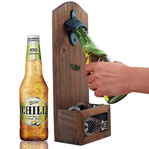 Apribottiglie, Birra Apriporta, con Collettore, Apri Bottiglie Muro Vintage Montato in Legno, per La Barra Terrazzino Patio,1pc