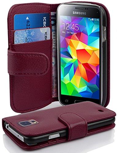 Cadorabo Funda Libro para Samsung Galaxy S5 Mini / S5 Mini DUOS en Burdeos Violeta - Cubierta Proteccíon de Cuero Sintético Estructurado con Tarjetero y Función de Suporte - Etui Case Cover Carcasa