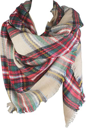 VIVIAN & VINCENT Women's Plaid Blanket Winter Scarf Oversized Shawl Cape Christmas Red Green