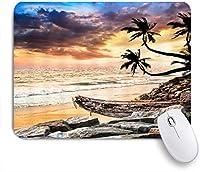 KAPANOUマウスパッド 熱帯の海辺の夕暮れ自然ヤシの木ぼろぼろのボートロック雲の下の波山空の芸術 ゲーミング オフィ良い 滑り止めゴム底 ゲーミングなど適用 マウス 用ノートブックコンピュータマウスマット