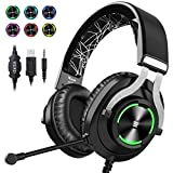 EKSA USB Gaming Headset PS4 Xbox One Headset with Noise Cancelling Mic & RGB Light - Gaming Headphones for PC, Laptop, Xbox One Controller (Adapter Not Included), PS4, Nintendo Switch - 3.5mm Cable