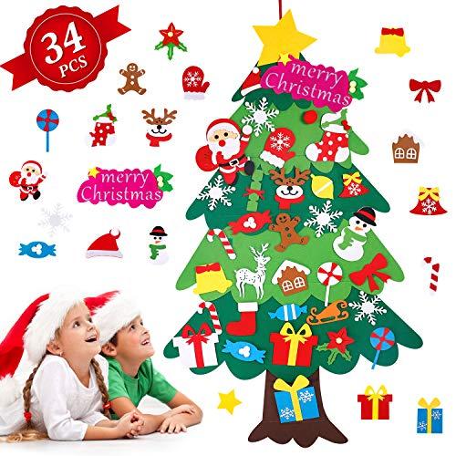 Albero di Natale in Feltro per Bambini, Albero Natale Feltro con 34 Pezzi Ornamenti Staccabili, 113cm Alberi di Natale per Regali di Natale, Decorazioni Natale per Pareti di Porte