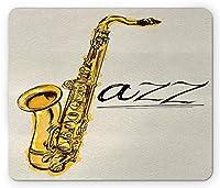 音楽マウスパッド、無地の背景にジャズサックスプリントの古典的な絵画ビンテージスタイルスケッチ、標準サイズの長方形滑り止めゴムマウスパッド、黄色エクリュ