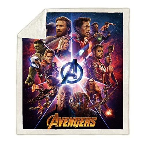 HUTUDA Marvel Avengers, coperta in flanella stile cartone animato, unisex, coperta Marvel Supereroi Avengers, per divano, letto, soggiorno, camera da letto, 130 x 150 cm