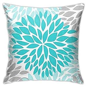 Hdadwy Funda de almohada, Dahlia Pinnata flor turquesa azul y gris funda de almohada moderna funda de cojín cuadrada decoración para sofá cama, silla coche 45,7 x 45,7 cm