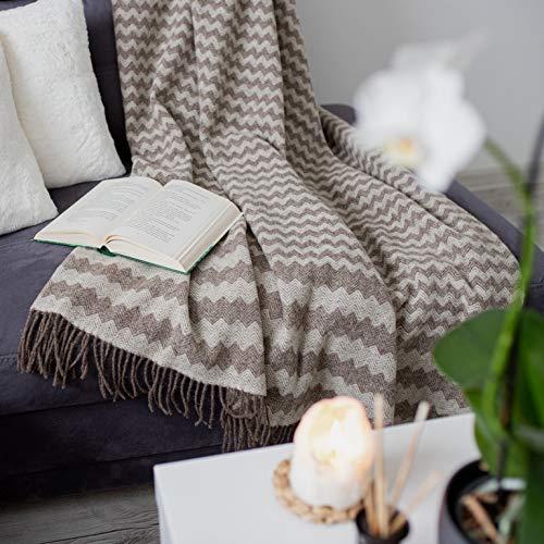 Linen und Cotton Decke Wolldecke Wohndecke Kuscheldecke Melody Gewellt - 100prozent Reine Neuseeland Wolle, Braun Natur Weiß (140 x 200 cm) Tagesdecke Überwurf Plaid Blanket Sofa Schurwolldecke Lammwolle