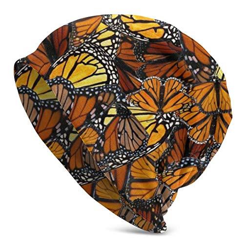 FairyLi Oranje Monarch erflies Beanie Mannen Vrouwen - Privacy Winter Zomer Warm Geboeid Effen Schedel Dagelijks Gebreide Hoed Cap