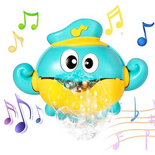 MOOKLIN ROAM Juguetes De Baño Pulpo, Juguetes para el Agua, Máquina de Burbujas Portatil Juguetes Reflejo con 12 Melodías Musicales para Bebé ucha de Niños Baño de Burbujas