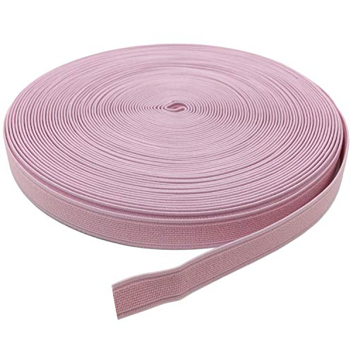 YJRVFINE Thick Flat Strong Pink Knit Elastic Bands Spool Stretch Rope for Sewing Wigs Underwear 3/5inch x 17Yards(1 Roll)