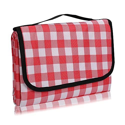 TKLake Picknickdecke 150 x 200 cm,Outdoor Stranddecke wasserdichte sanddichte tolle Picknick-Matte Campingdecke,Faltbar Leicht mit Tragegriff Matte,Picknickmatte(150 * 200 cm, Rot-1)