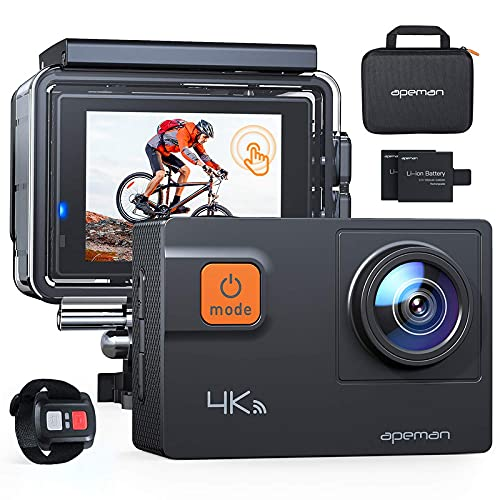APEMAN 4K 60FPS Action Camera A87,Touch Screen 20MP Wi-Fi EIS 8X Zoom Remote Control Sports Cam 40M Waterproof Underwater Vlog Camcorder with Mounting Accessories Kit and Carrying Case