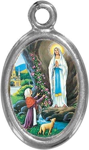 Ferrari & Arrighetti Medalla de la Virgen de Lourdes de Metal niquelado con Resina - 2,5 cm (Paquete de 10 Piezas)